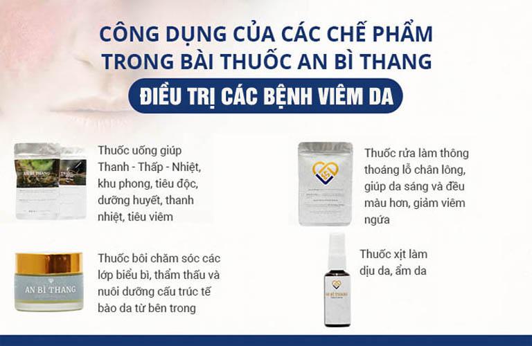 Mỗi chế phẩm của An Bì Thang đều tập trung những vị thuốc có tính chất, dược tính mạnh để tác động vào từng vấn đề của bệnh
