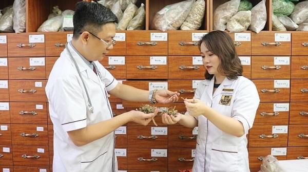 Bác sĩ Ngô Thị Hằng cùng lương y Đỗ Minh Tuấn nghiên cứu bài phát triển bài thuốc gia truyền của dòng họ Đỗ Minh