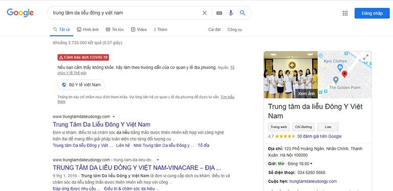 Trung tâm Da liễu Đông y Việt Nam có thường xuyên được người bệnh tìm kiếm qua Google