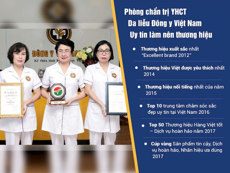 Thành tích mà Trung tâm Da liễu Đông y Việt Nam đã đạt được qua nhiều năm
