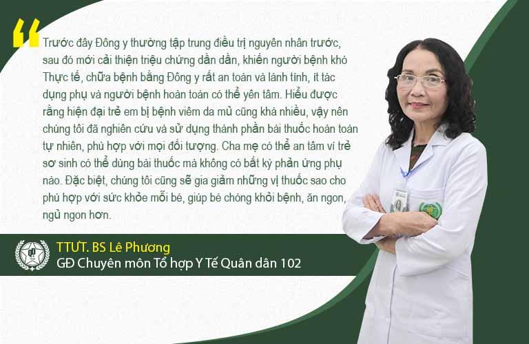 Bác sĩ Lê Phương chia sẻ về phương pháp chữa viêm da mủ cho trẻ tại Quân dân 102