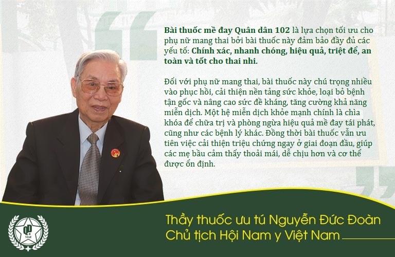 Thầy thuốc Nguyễn Đức Đoàn đánh giá cao bài thuốc mề đay Quân dân 102