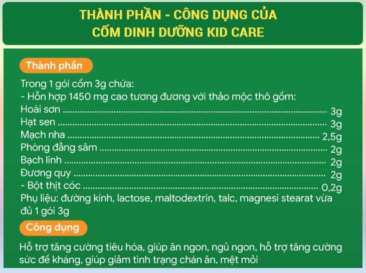 Chi tiết thành phần, công dụng của cốm dinh dưỡng KID CARE